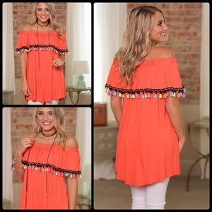 Tops - Off The Shoulder Coral Tunic